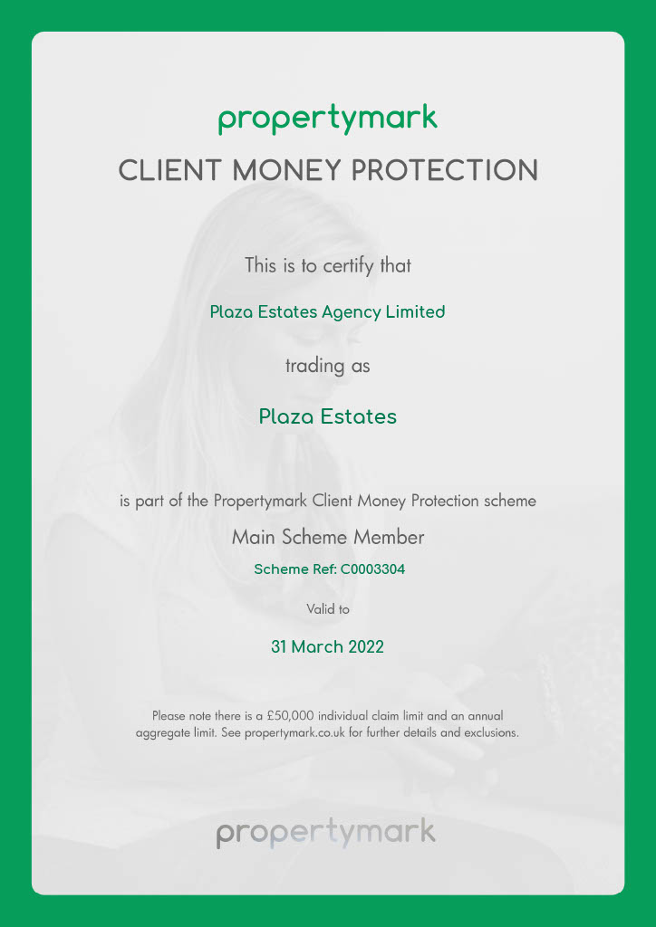 Plaza Estates Client Money Protection Certificate