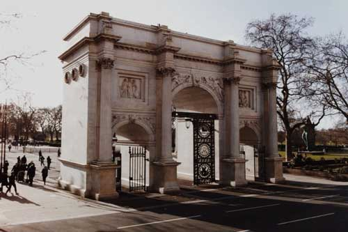The Marble Arch monument in London's Mayfair was designed by architect John Nash
