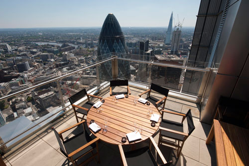 Central London residents are eating in luxury restaurants with roof terraces