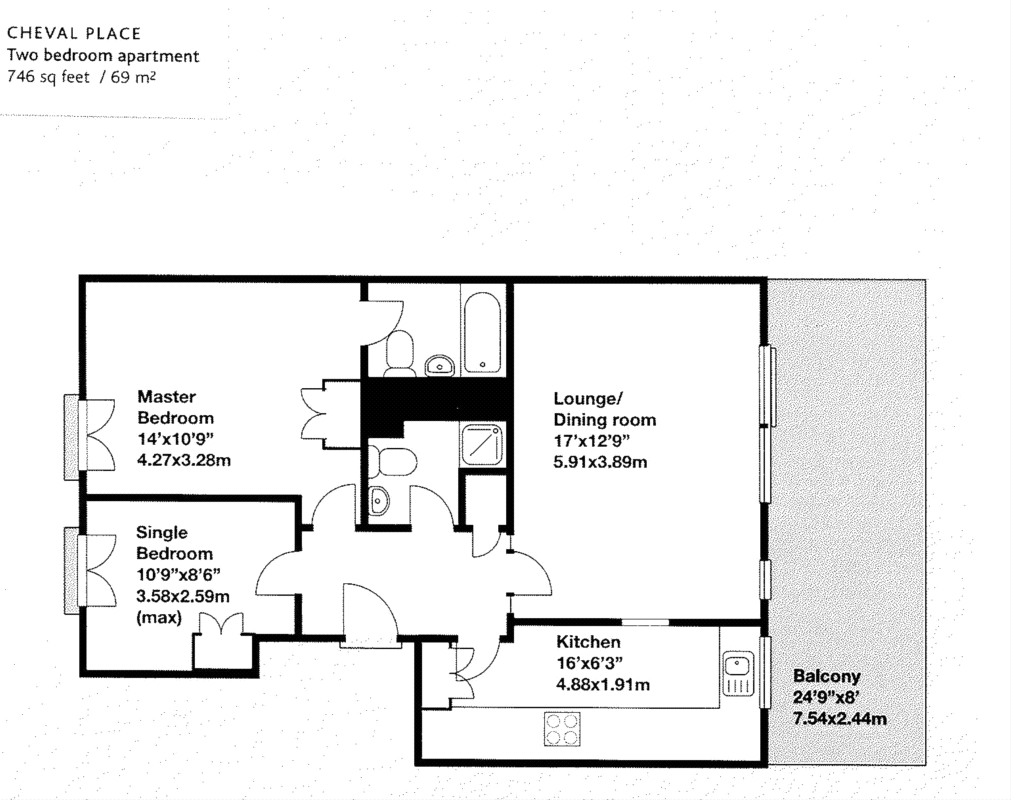 746 sq ft - 2 Bed Apartment