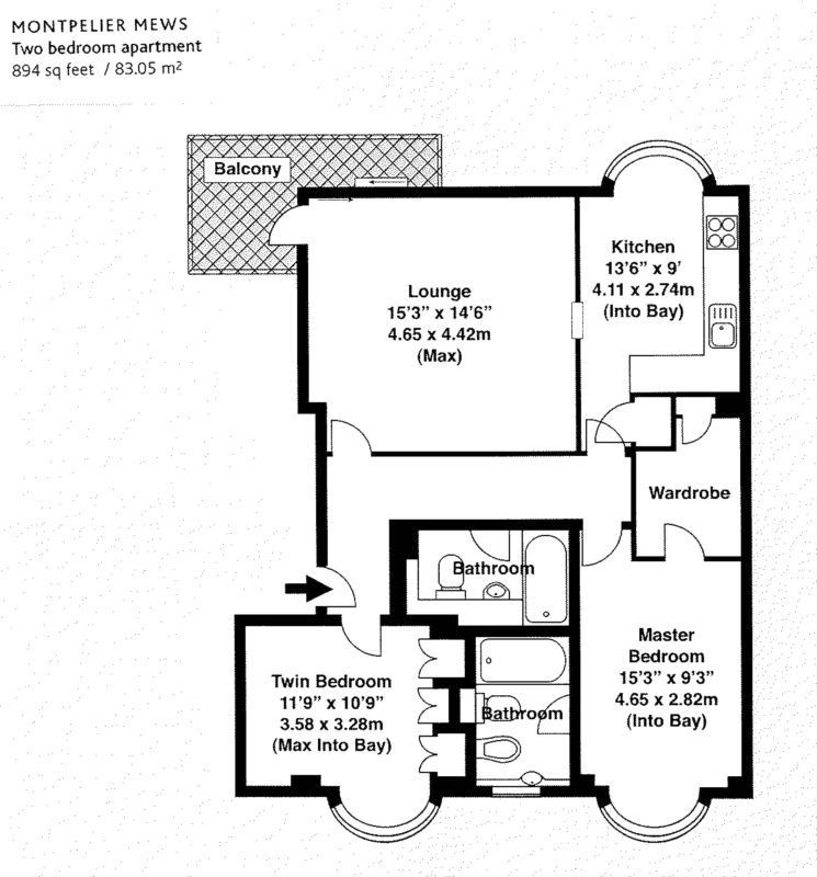 894 sq ft - 2 Bed Apartment